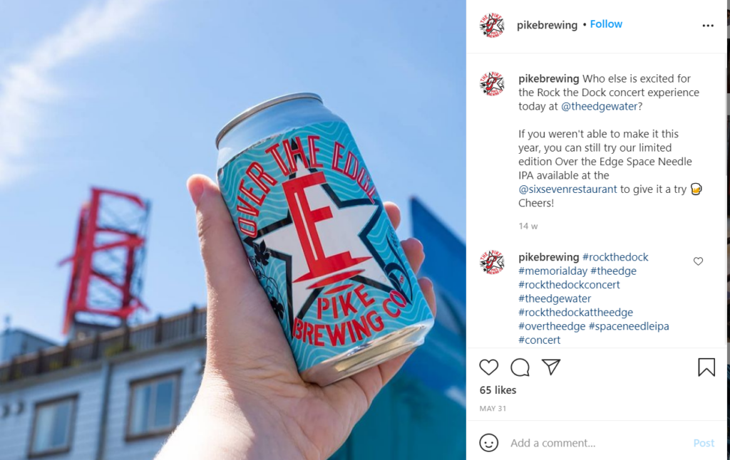 A beer can from Pike Brewing Co. with Seattle's Pike Place Market in the background