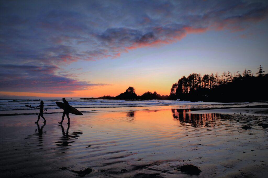 Surfers on Tofino beach in Canada