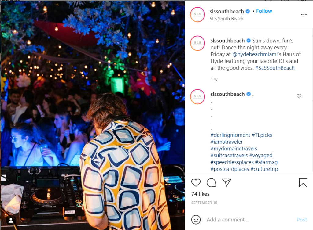 Night club scene at SLS South Beach, Miami.