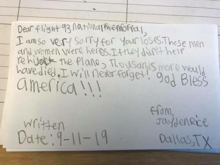 Students send 9/11 notes to Memorial