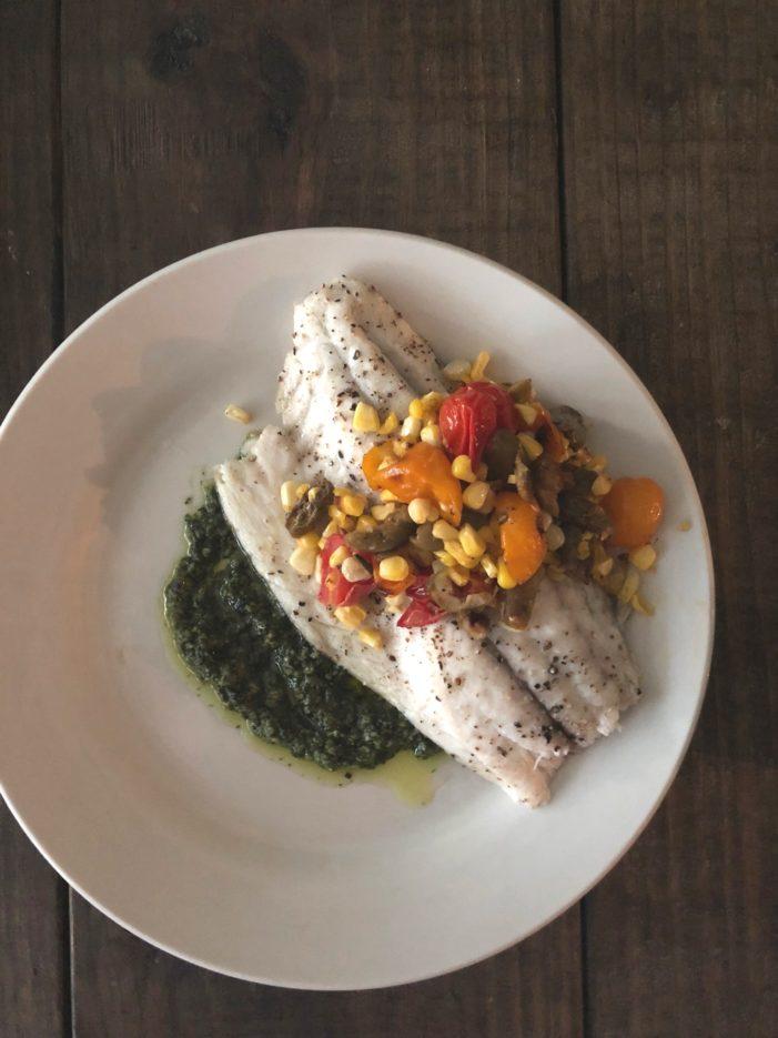 Roasted Barramundi with Tomato-Olive Relish