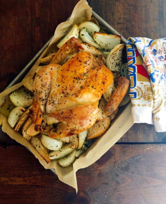 Roast Chicken with Apples and Onions