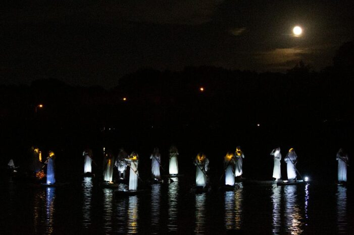 Paddle boarders bring haunting to life