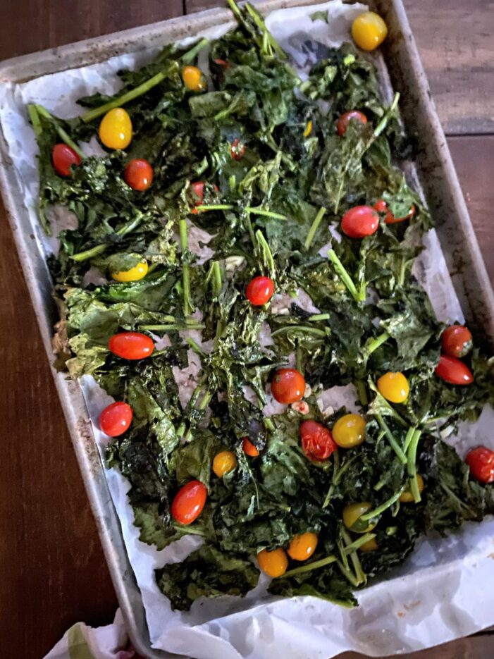 Roasted Kale with  Garlic and Tomatoes