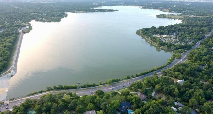 Drone captures bird's-eye view of lake