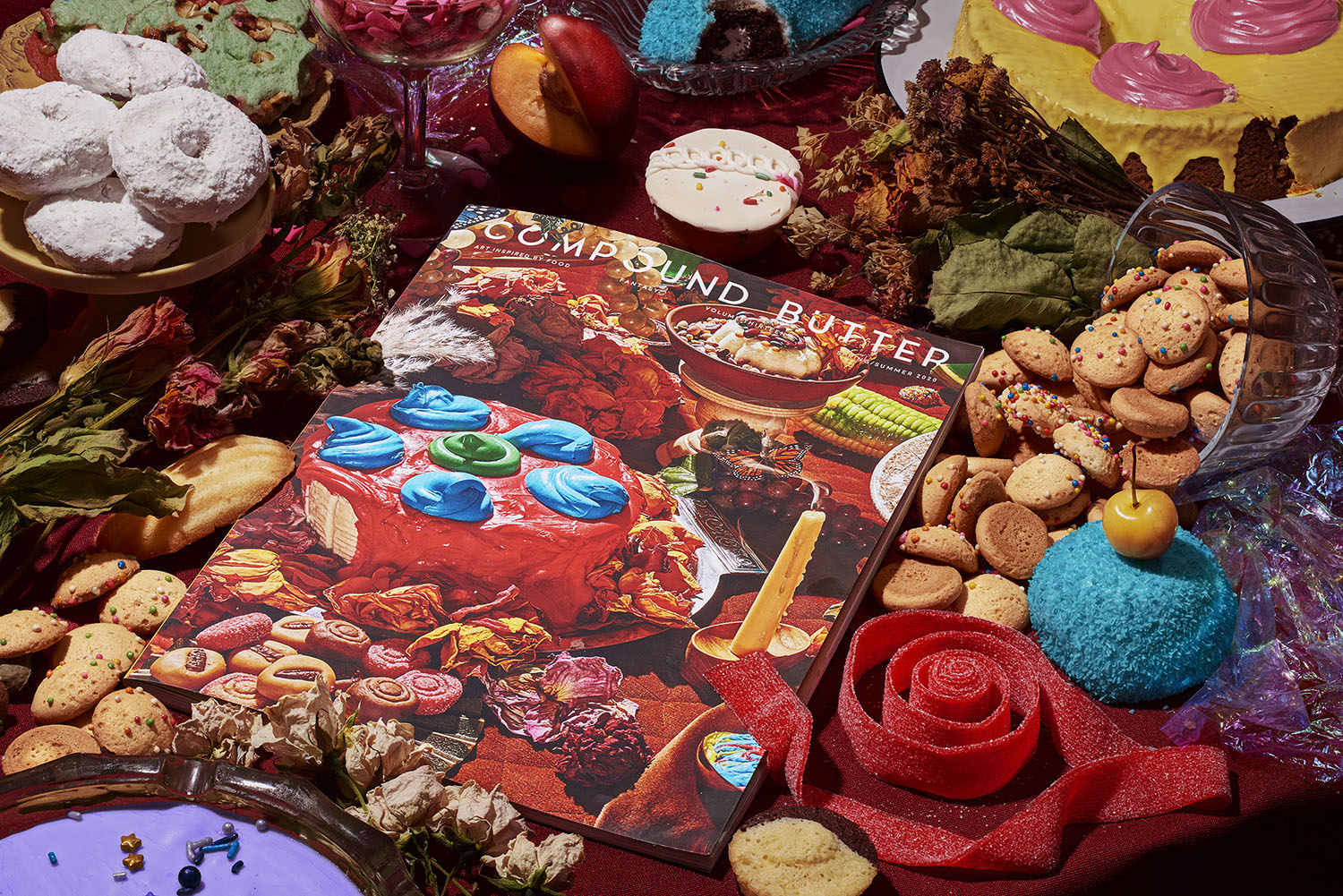 Promotional imagery for compound butter food and art magazine with cover photo - fantasy issue