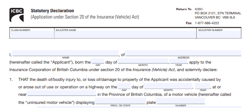 CL42 ICBC Hit and Run Declaration, Burnaby Notary Public