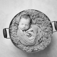Newborn photography - baby in a bucket
