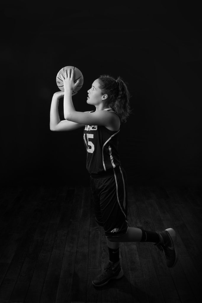 west valley senior pics, basketball, indoors, studio