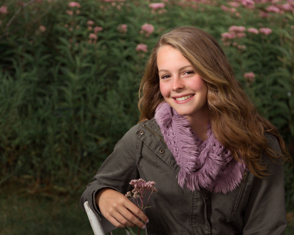 west valley senior photos, purple flowers