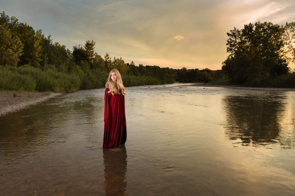springville senior photos, gown, red woman