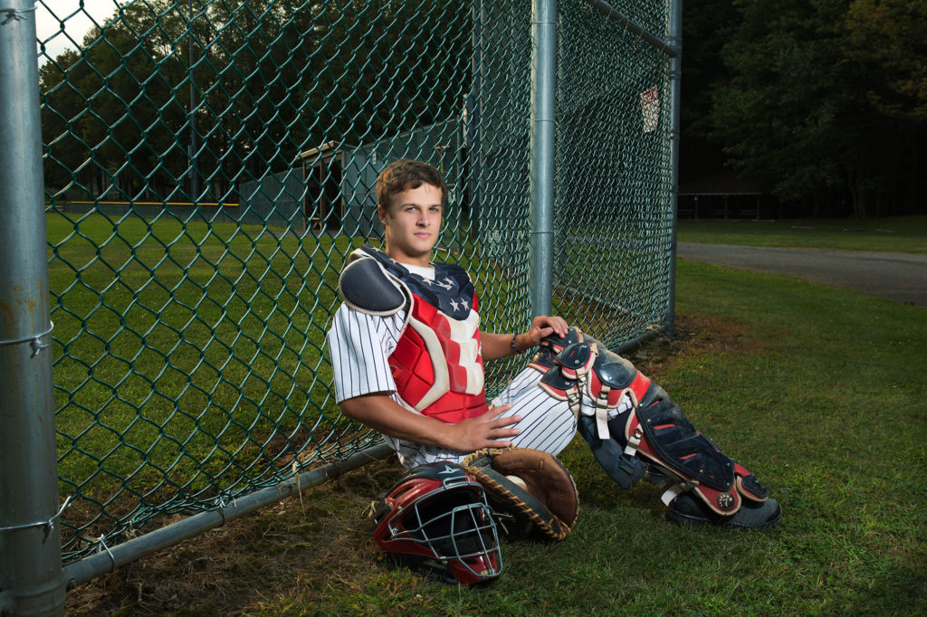 springville senior photos, captain america, senior pics, baseball, catcher