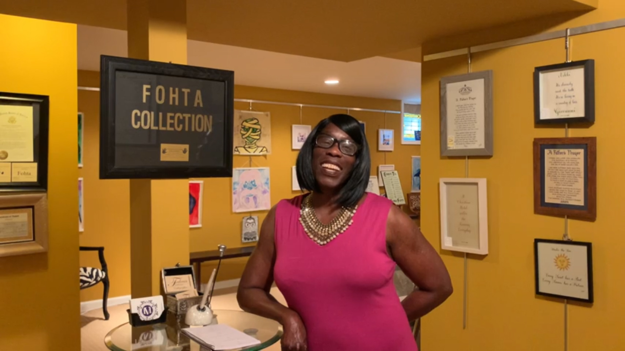 Felecia Brice McFail in the FOHTA Collection, where she displays her calligraphy and other art