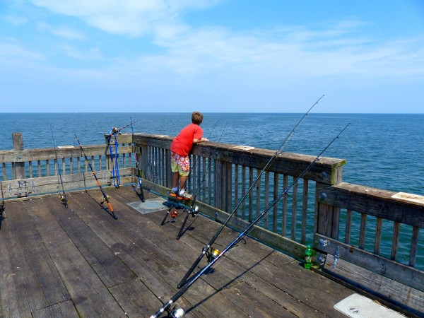 Buckroe Pier- boy with fishing rods