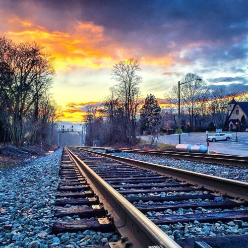 Clifton, Virginia-- sunset on the train tracks
