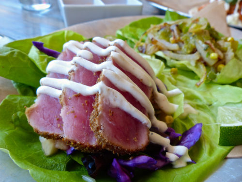 Vida Taco Bar's ahi tuna tacos served with a Bibb lettuce wrap