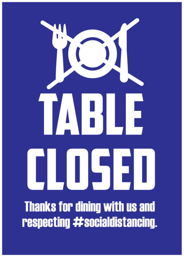 Blue Table Closed Sign