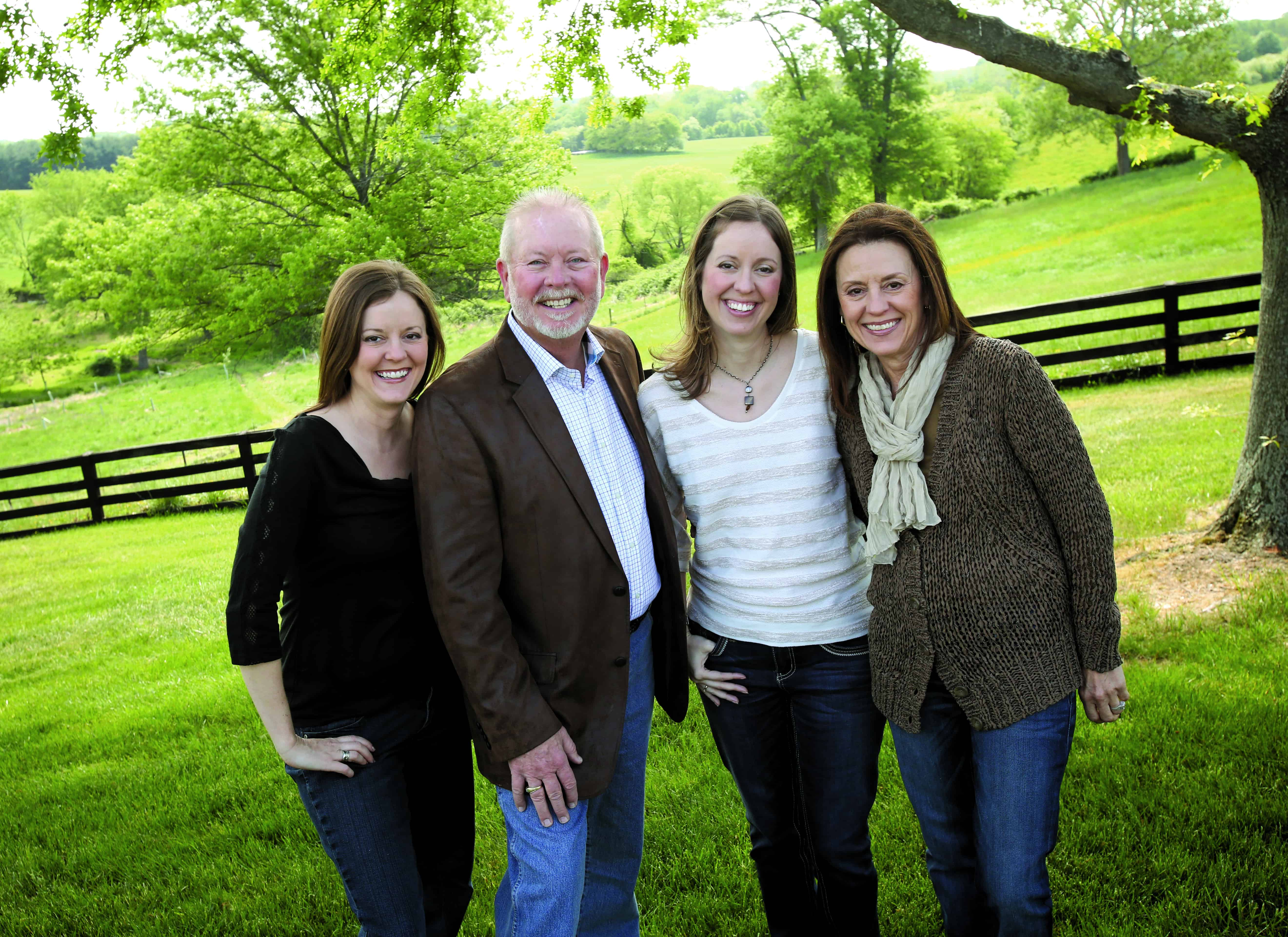 Family business: Randy Marriner with Mary, far right, and daughters Tori Marriner Buscher, left and Rachael Marriner Mull.