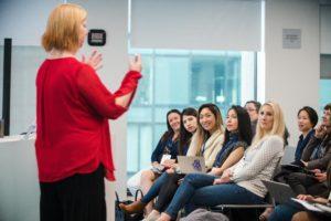 Jennifer LeBlanc delivering a keynote at Google