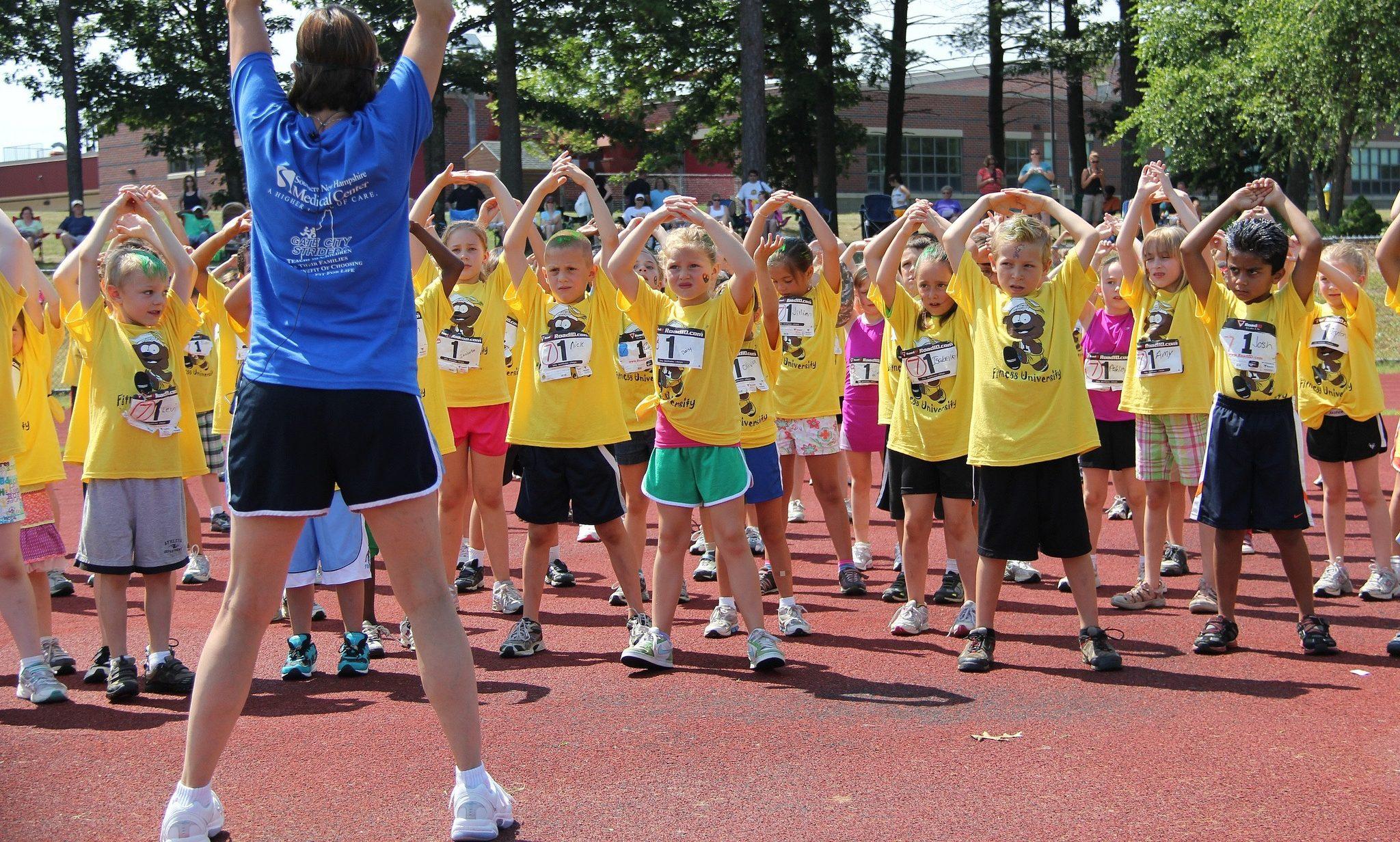 Kids warming up at Fitness University