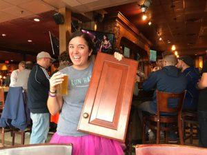 A lucky GCS member who won the door prize!