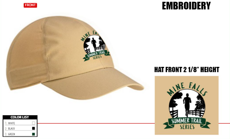 Sample - the actual hat is tech material.  It will be a great running hat!