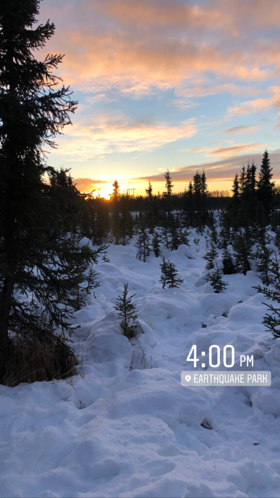 Winter Sunset Alaska Early Travel