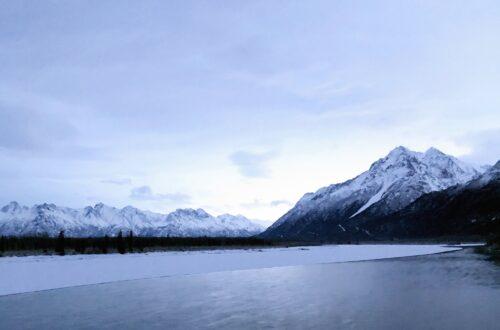 Alaska Range in Winter from the Alaska Train