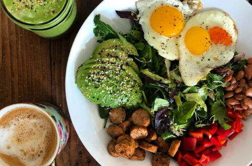 A plate full of colorful vegetables, healthy fats, and micronutrients to promote a fertility diet