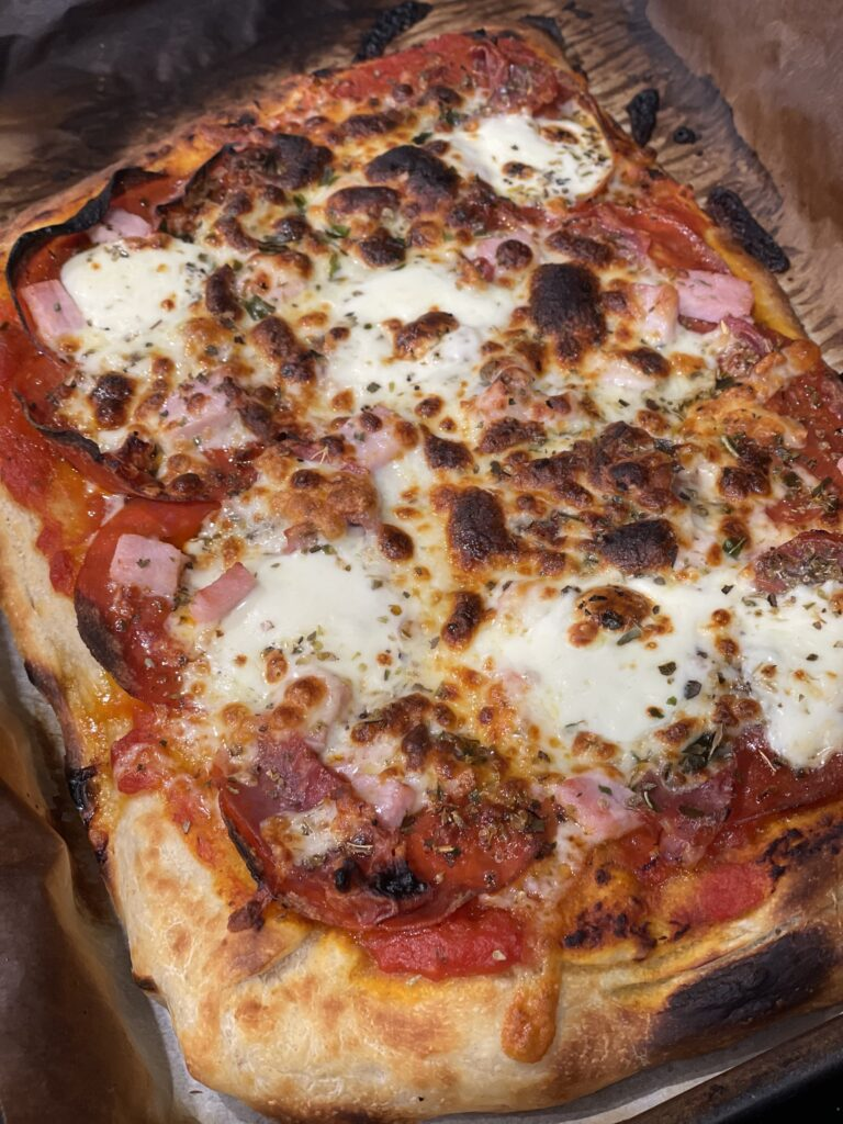 Homemade Meat Pizza with Rome-style Sourdough Crust