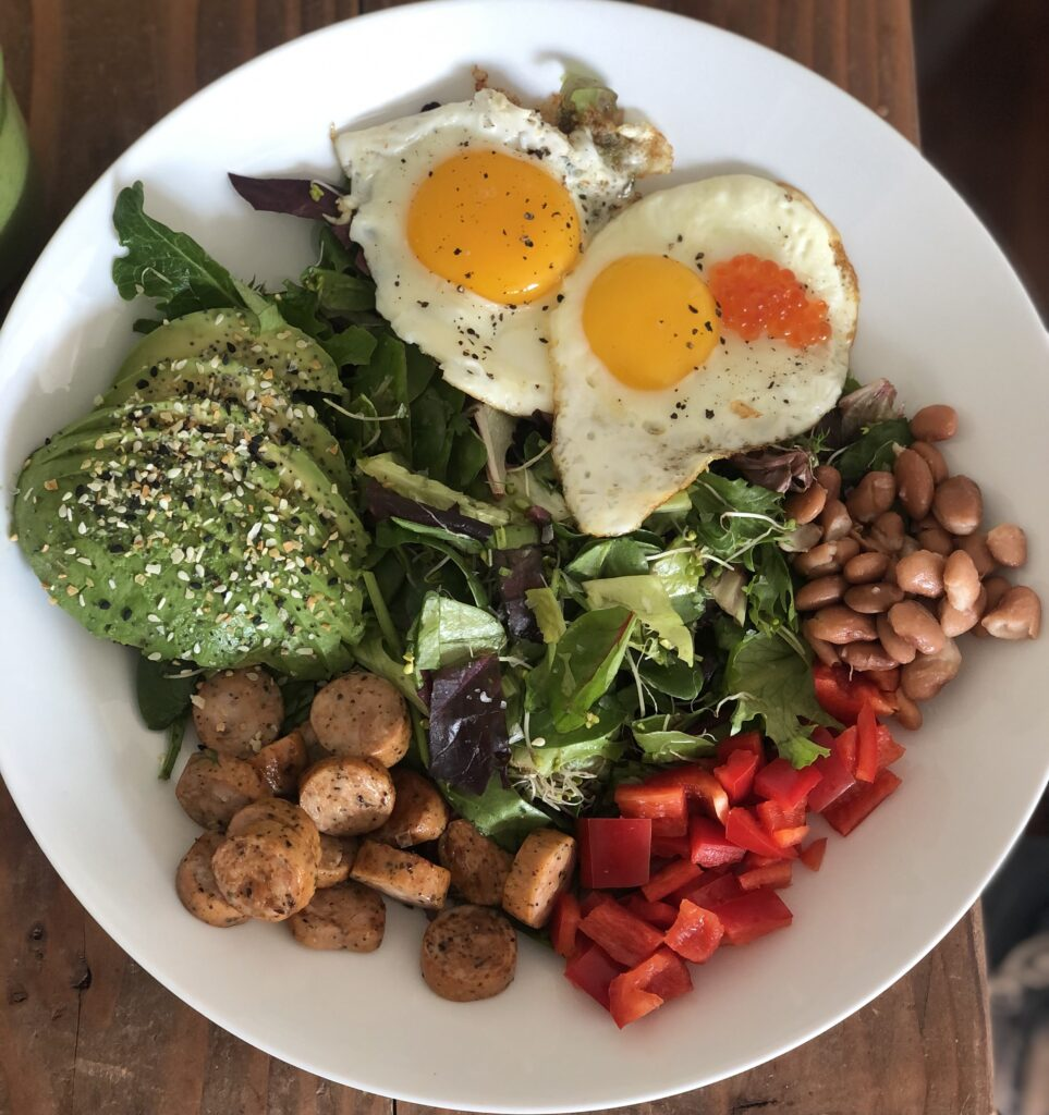 An epic salad with tons of ingredients