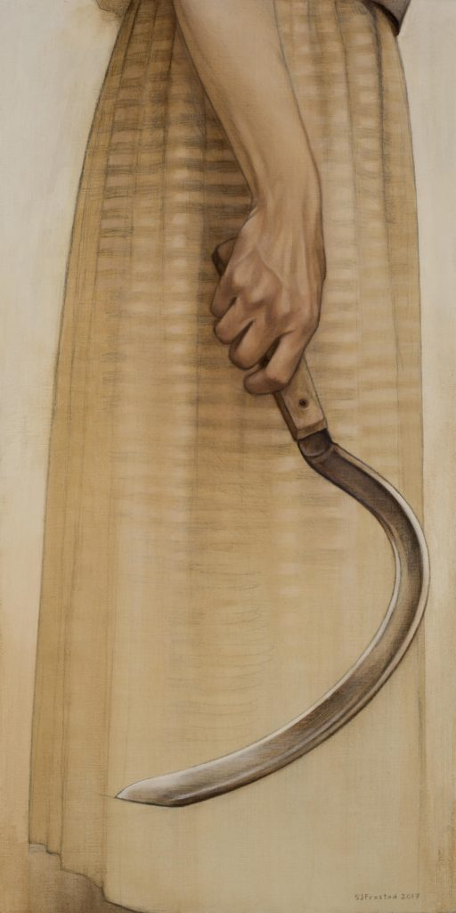 "Harvester, 2017. Graphite & oil on wood panel, 20x10"". Sold"
