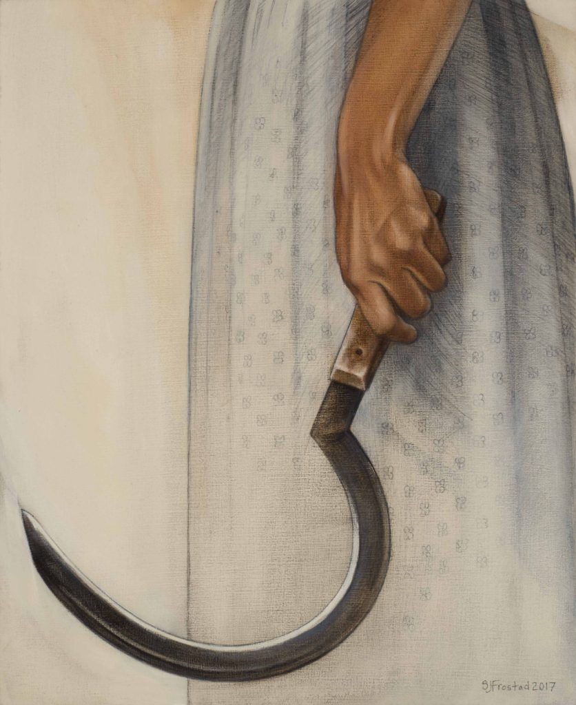 """Sickle II, 2017. Graphite & oil on wood panel, 14x11"""". Sold"""