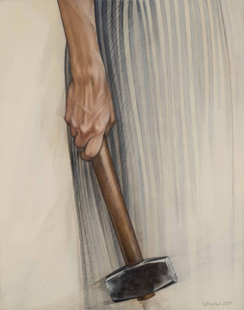 """Sledge, 2017. Graphite & oil on wood panel, 14x11"""". Sold"""