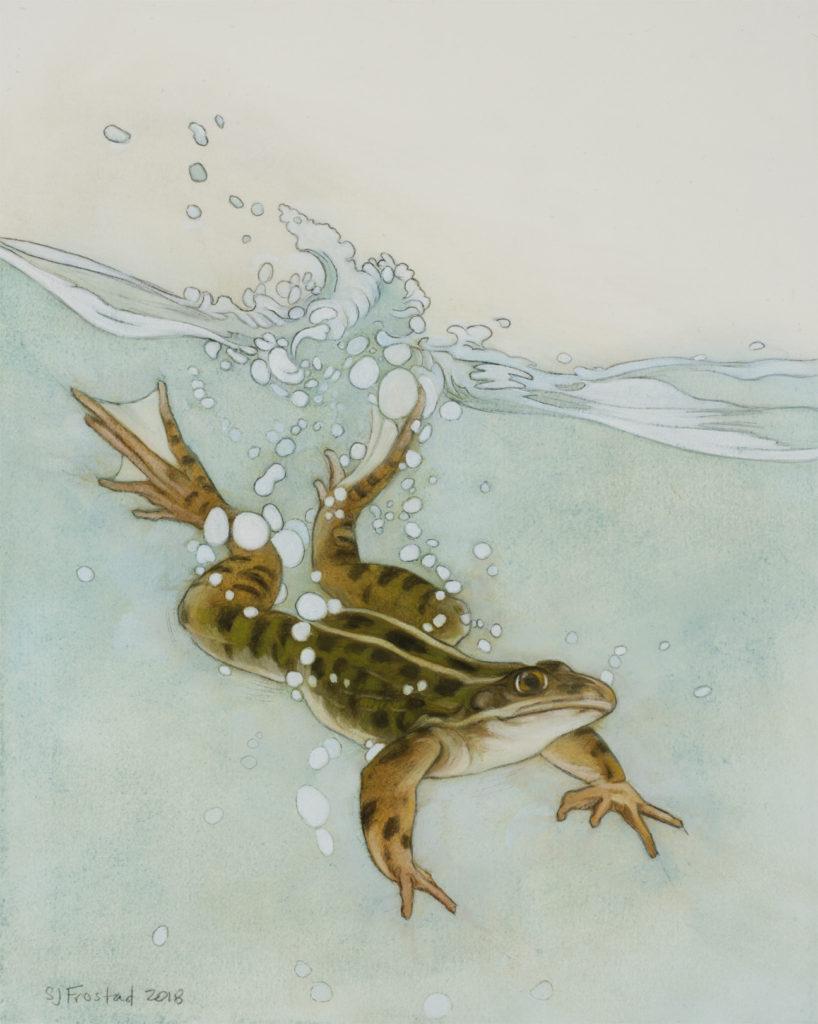 "Splash II, 2018. Graphite & oil on art board, 10x8"". Sold"