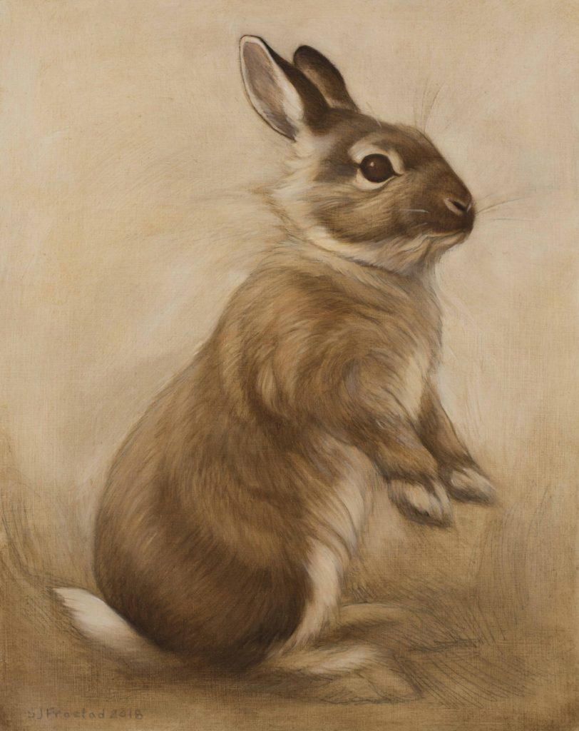 """Curious, 2018. Graphite & oil on wood panel, 10x8"""". Sold"""