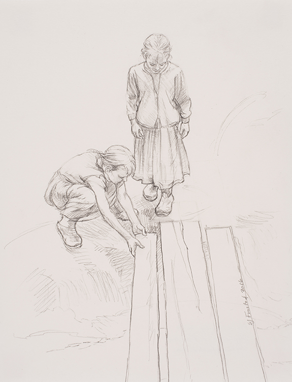 "Plank Study, 2016. Graphite on paper, 10x8"""