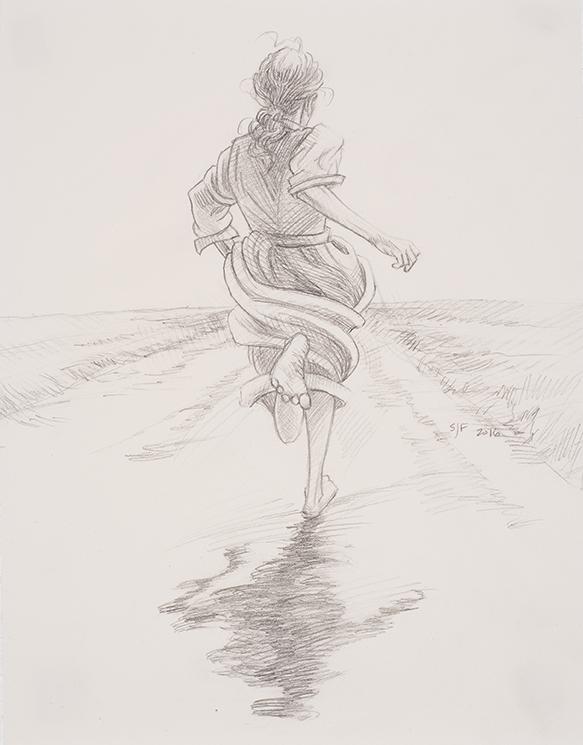 "Atalanta Sketch, 2016. Graphite on paper, 11x9"". Sold"