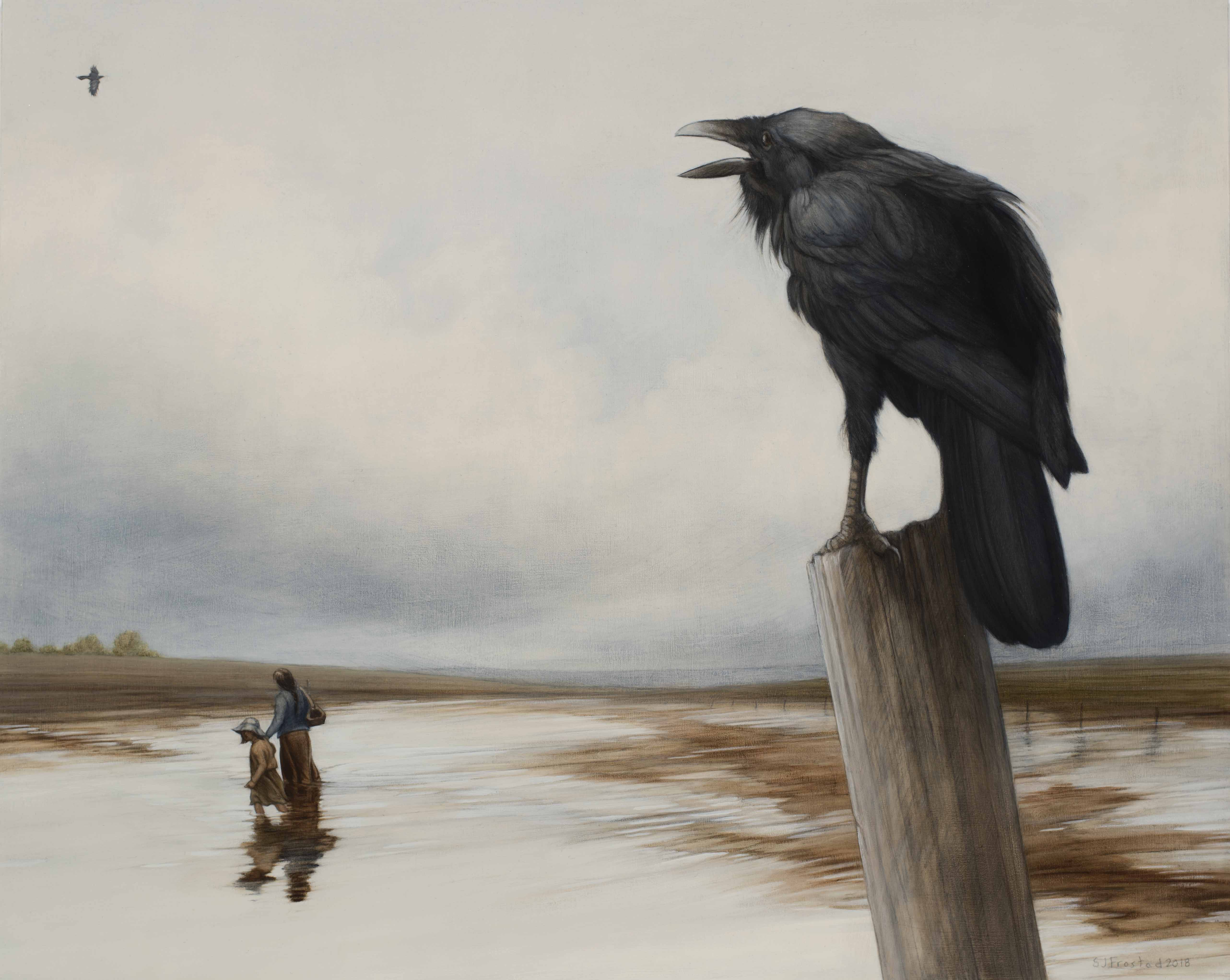 """Higher Ground, 2018. Graphite & oil on wood panel, 16x20"""". Sold"""