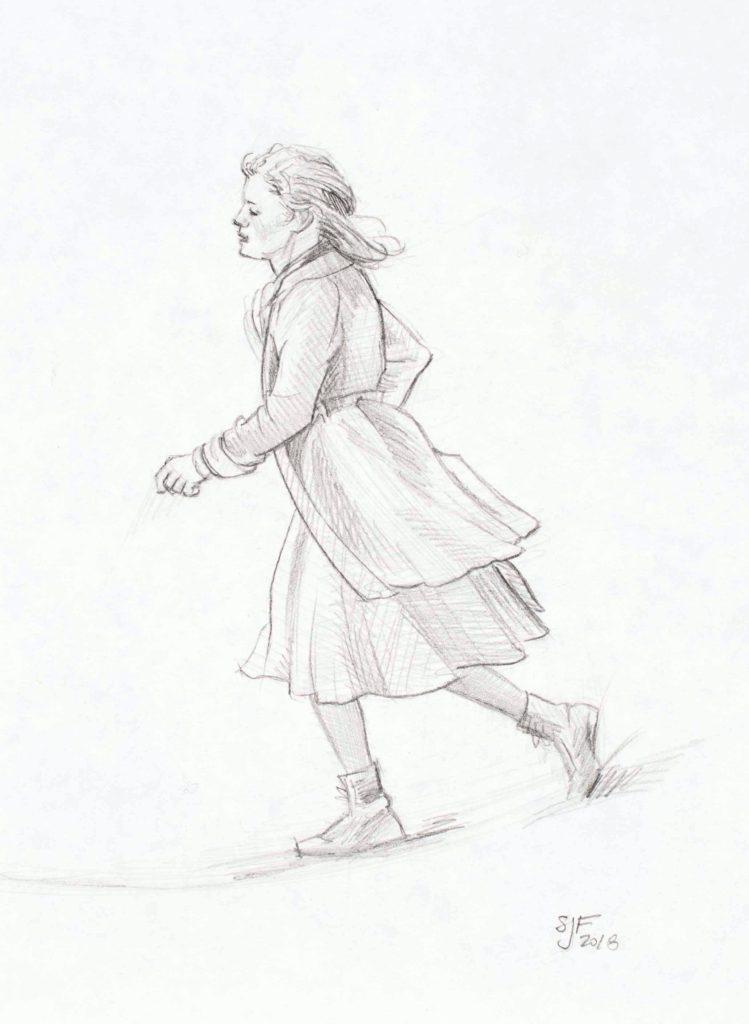 """Running Girl, 2018. Graphite on paper, 7x5"""" 100. (framed)"""