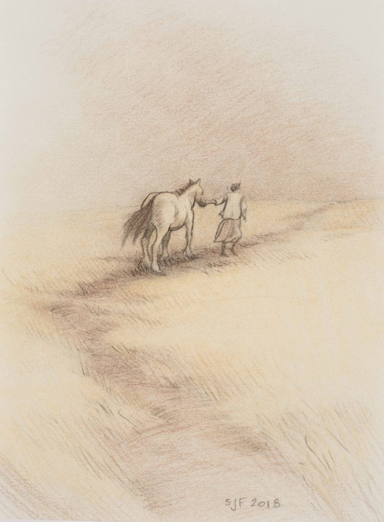 """Dust Storm Study, 2018. Mixed media on paper, 7x5"""". Sold"""