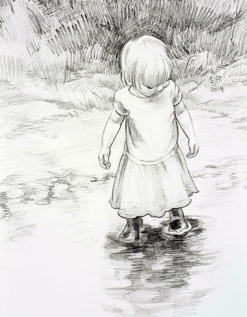 """In the Shallows Study, 2018. Graphite on paper, 7x5"""" Sold"""