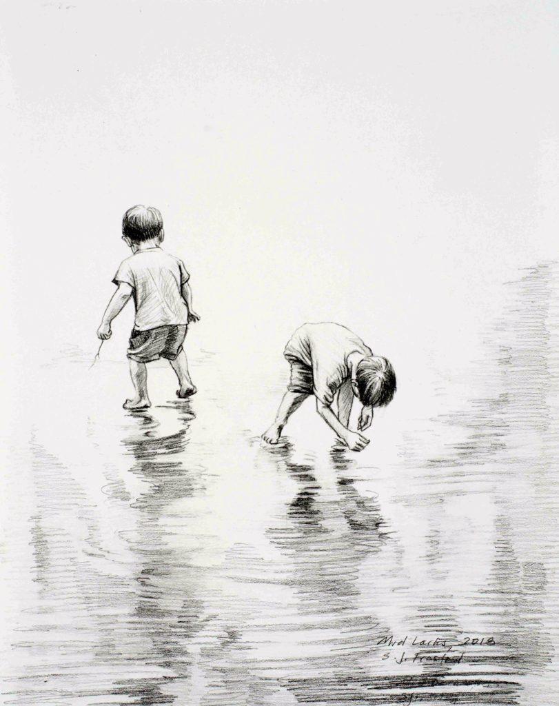 "Mud Larks, 2018. Graphite on paper, 10x8"""