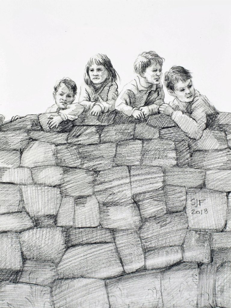 """Outside the Wall, 2018. Graphite on paper, 7x5"""" Sold"""