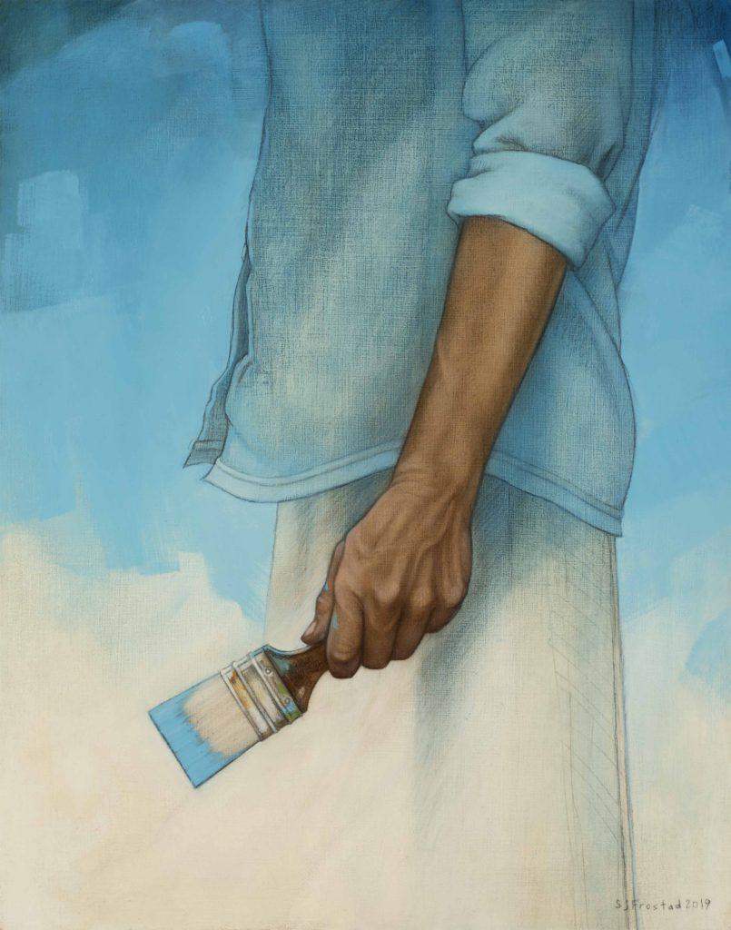 "Spectrum: Blue, 2019. Graphite & oil on wood panel, 14x11"". Sold"