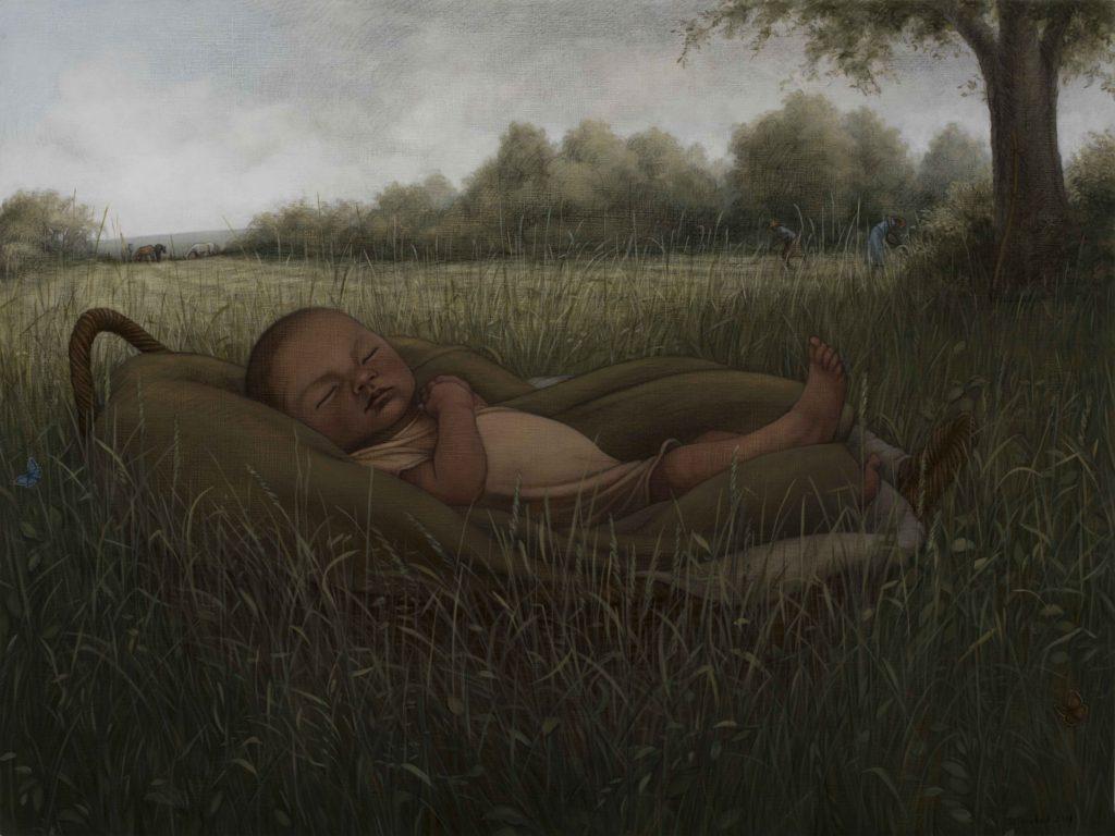 "Dreamer, 2019. Graphite & oil on wood panel, 18x24"". Sold"