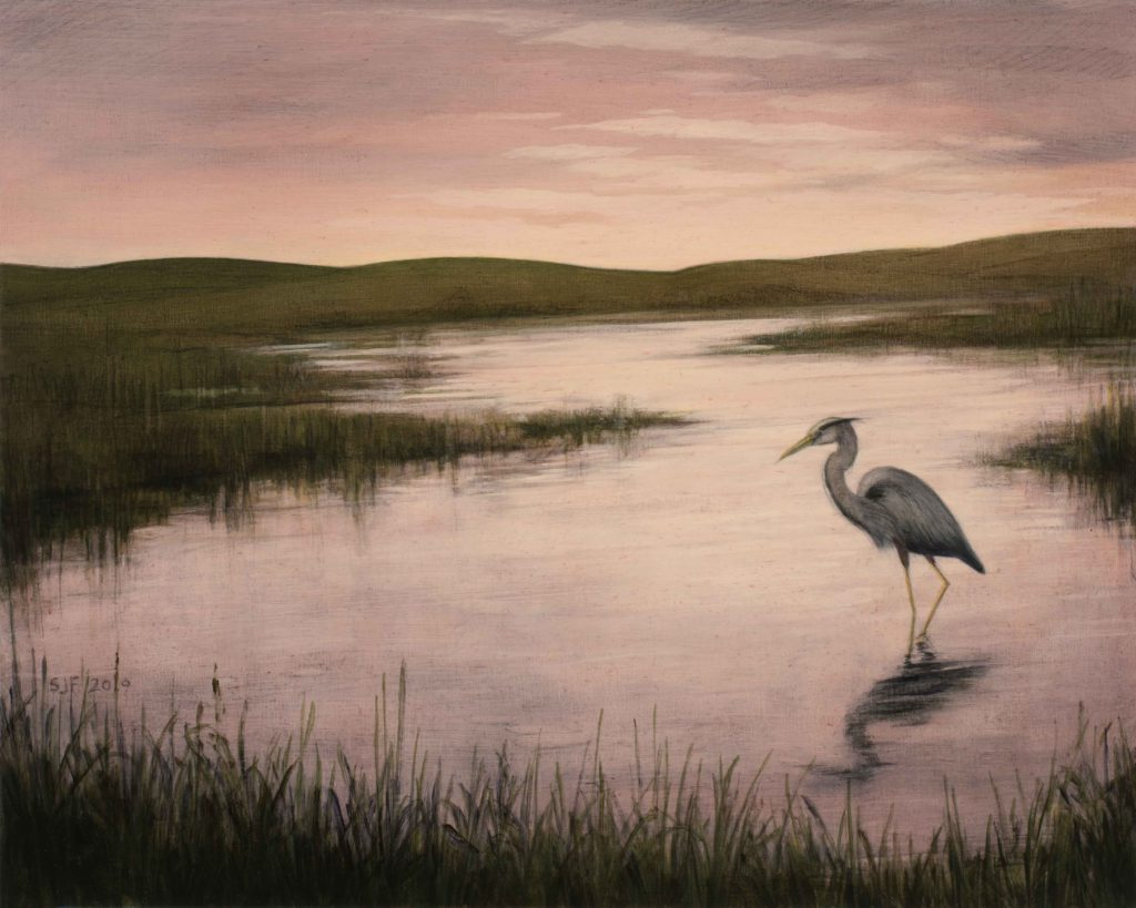 """Backwater, 2019. Graphite & oil on wood panel, 8x10"""" Sold"""