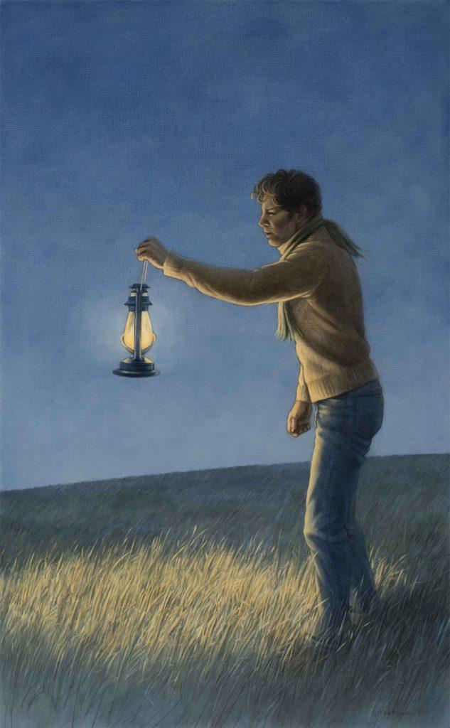 """Lantern Bearer I, 2019. Graphite & oil on wood panel, 22x13.5"""" Sold"""
