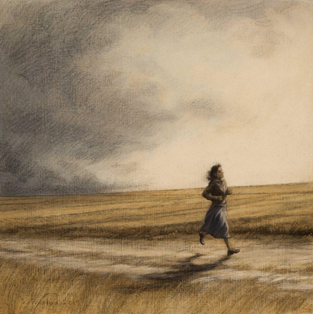 "Messenger IV, 2019. Graphite & oil on art board, 8x8"" Sold"