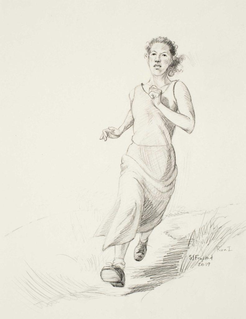 "Run I, 2019. Graphite on paper, 10x8"" 60."